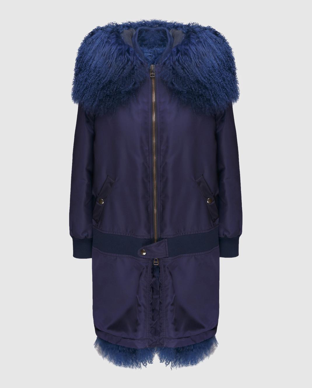Mr&Mrs Italy Синяя парка с мехом тибетского ягненка OV072E