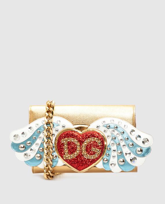 Золотистый кожаный клатч с кристаллами