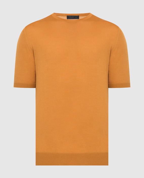 Оранжевая футболка из шерсти