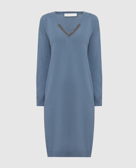 Голубое платье из шерсти, шелка и кашемира