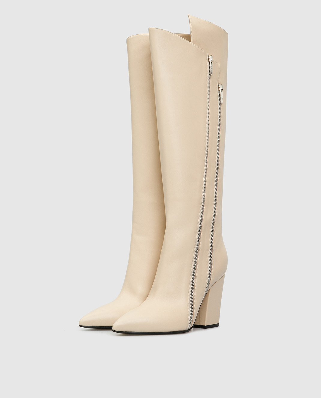 Sergio Rossi Светло-бежевые кожаные сапоги изображение 3