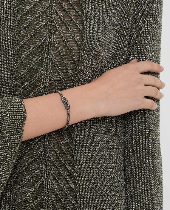 Серебристый браслет из латуни с кристаллами hover