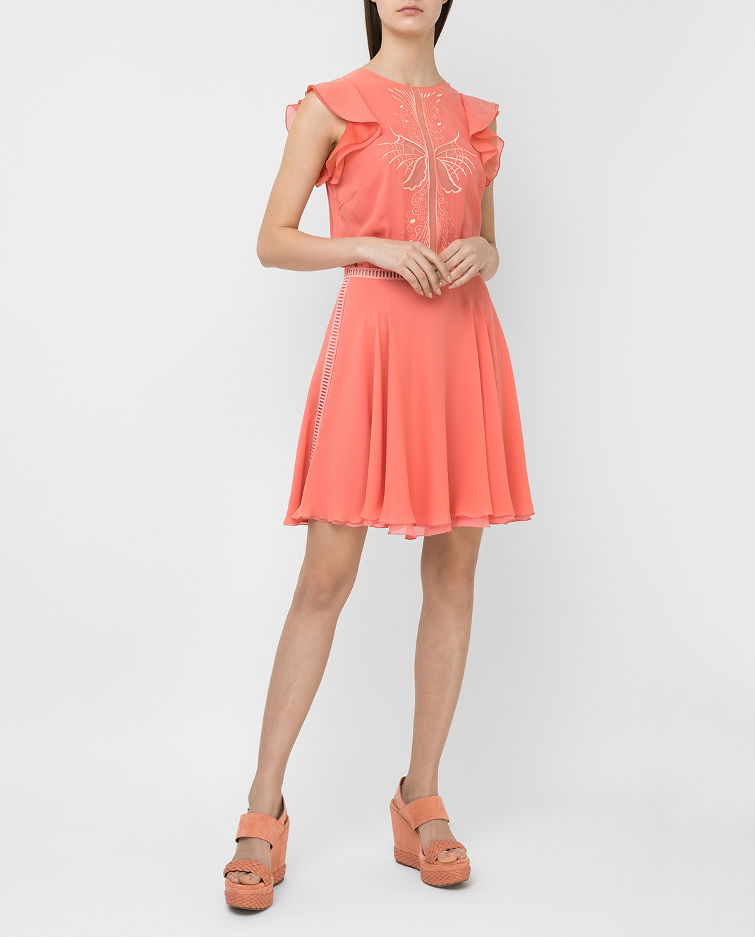 Giamba Коралловое платье из шелка PG5250 изображение 2