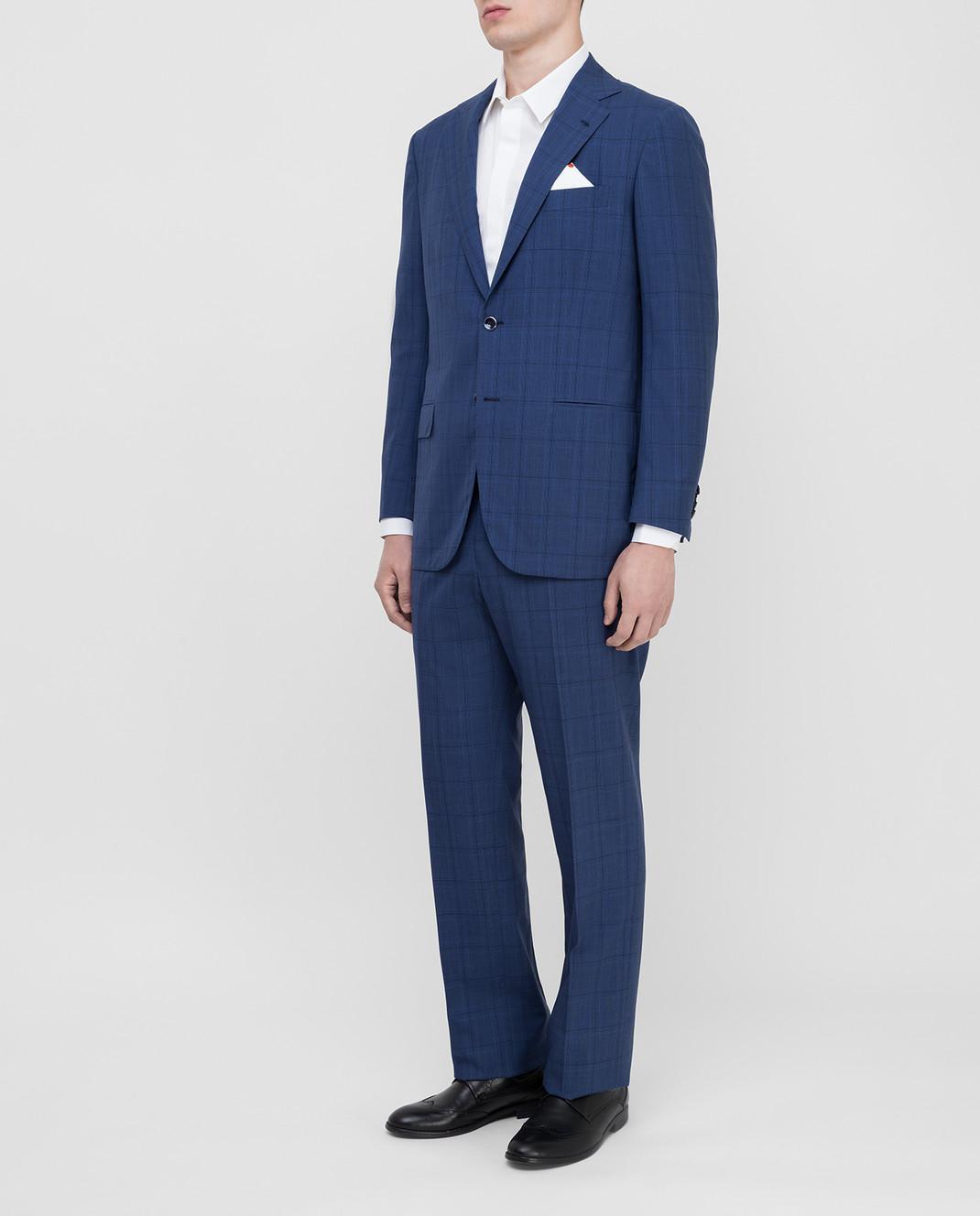 Kiton Темно-синий костюм из шерсти изображение 3