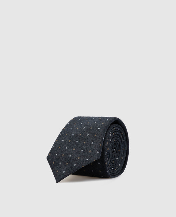 Темно-синий галстук из шерсти