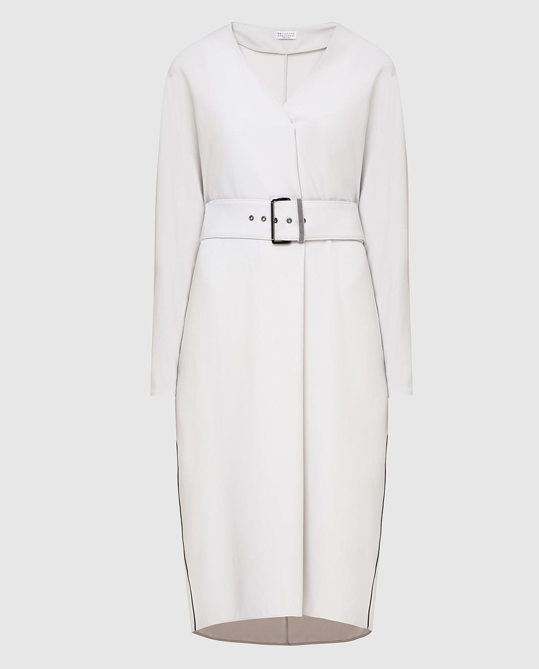 Brunello Cucinelli Светло-серое платье изображение 1