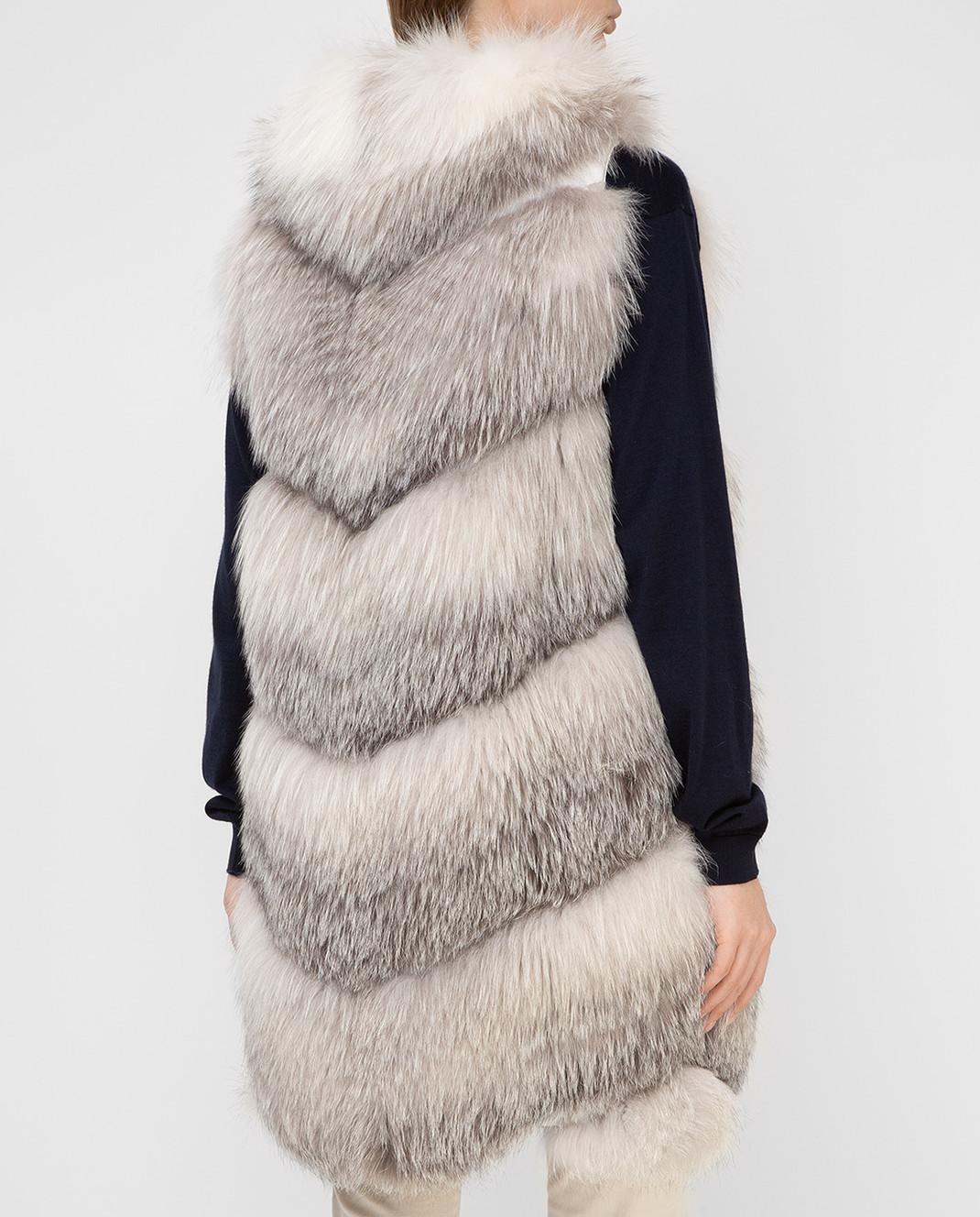 Florence Mode Серый жилет из меха лисы изображение 4