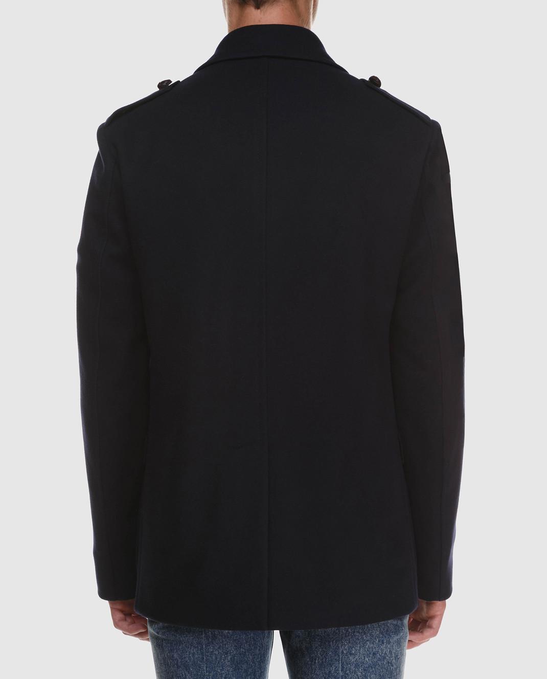 Gucci Темно-синее пальто из шерсти и кашемира 523628 изображение 4