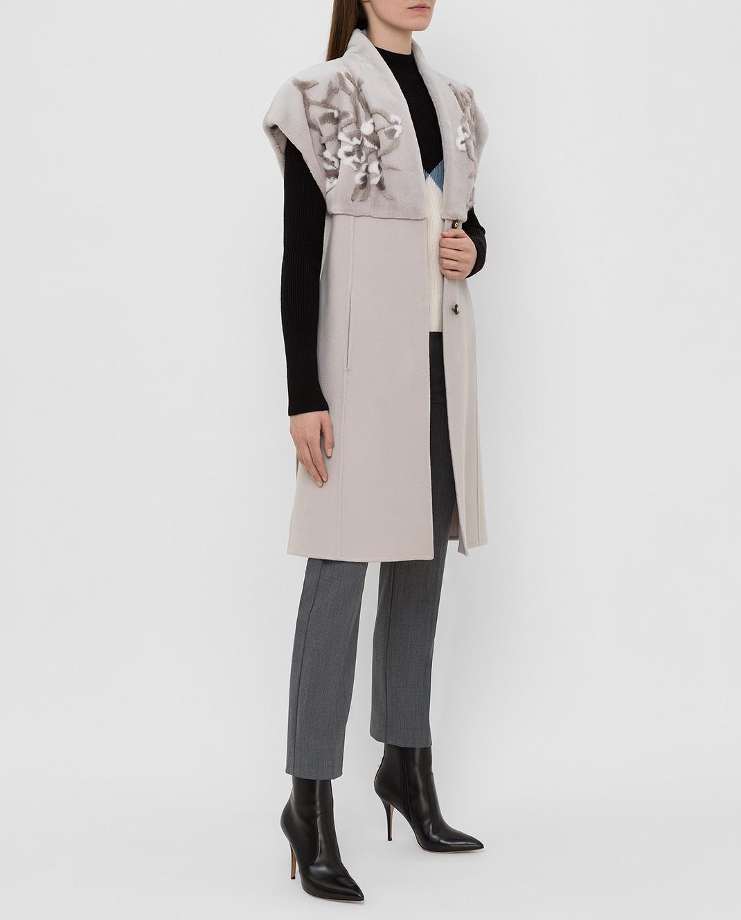 Rindi Светло-серый жилет из кашемира с мехом норки изображение 2