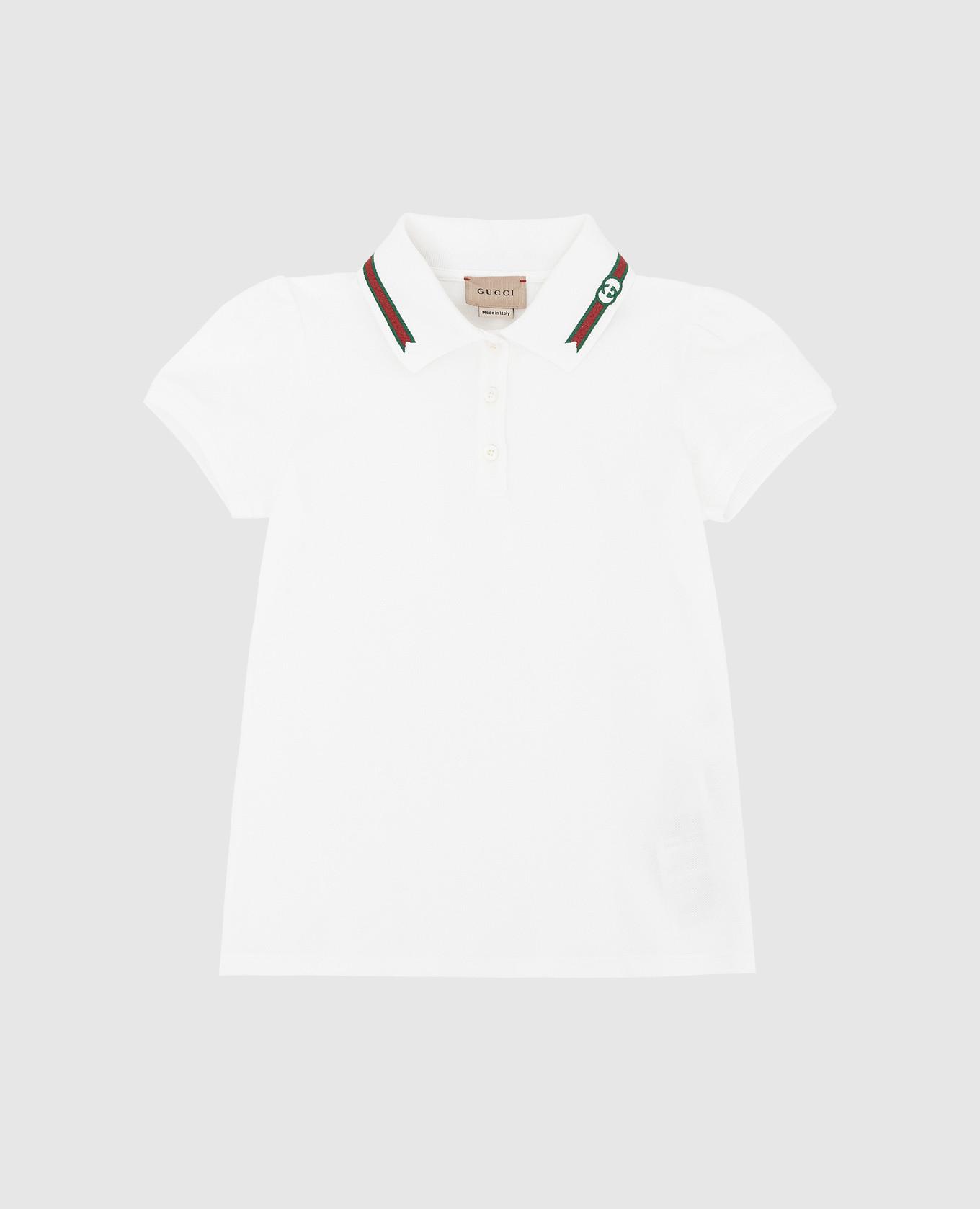 Детское белое поло с вышивкой Web Gucci