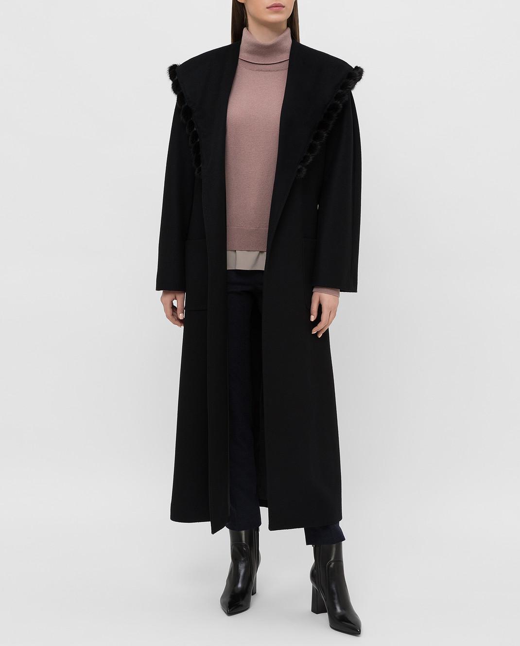 Heresis Черное пальто из шерсти M33130VIF260 изображение 2