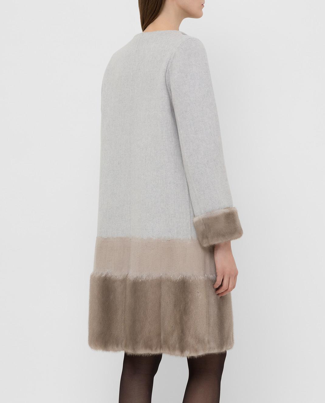 Rindi Серое пальто из шерсти и кашемира с мехом норки 295TE0R6 изображение 4