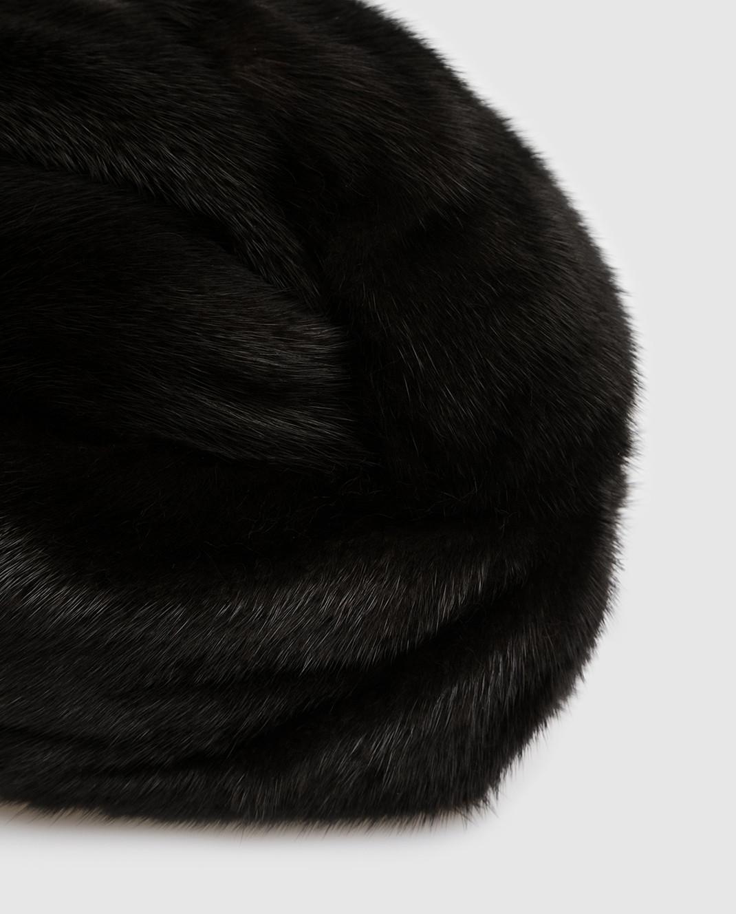 Simonetta Ravizza Черный тюрбан из меха норки TURBANTEBVISNE изображение 4