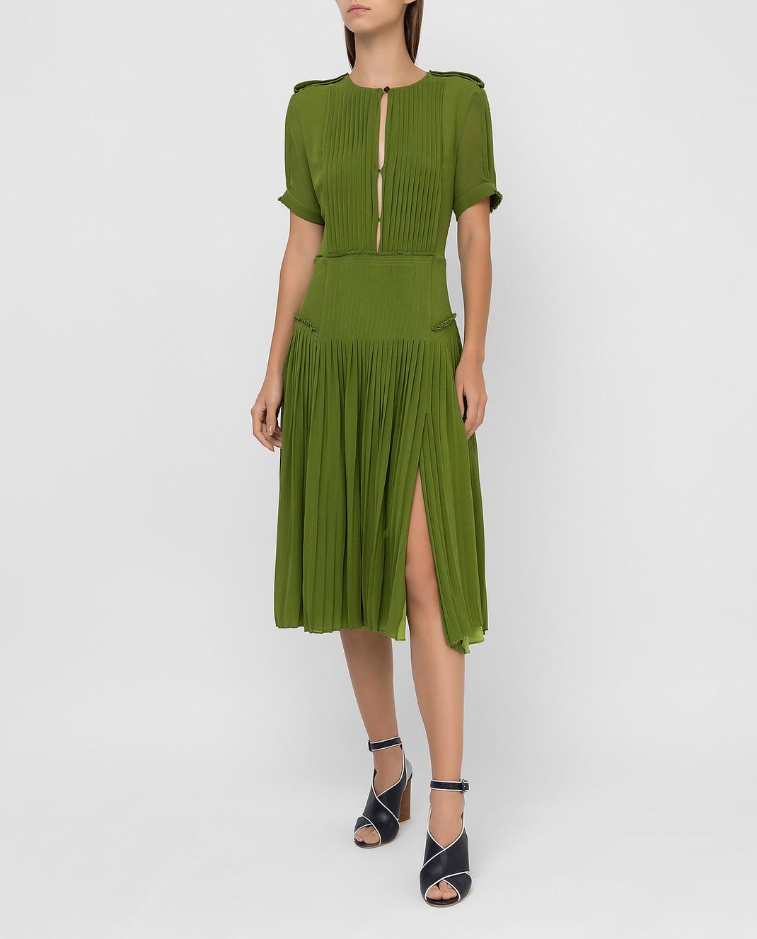 Burberry Зеленое платье из шелка изображение 2