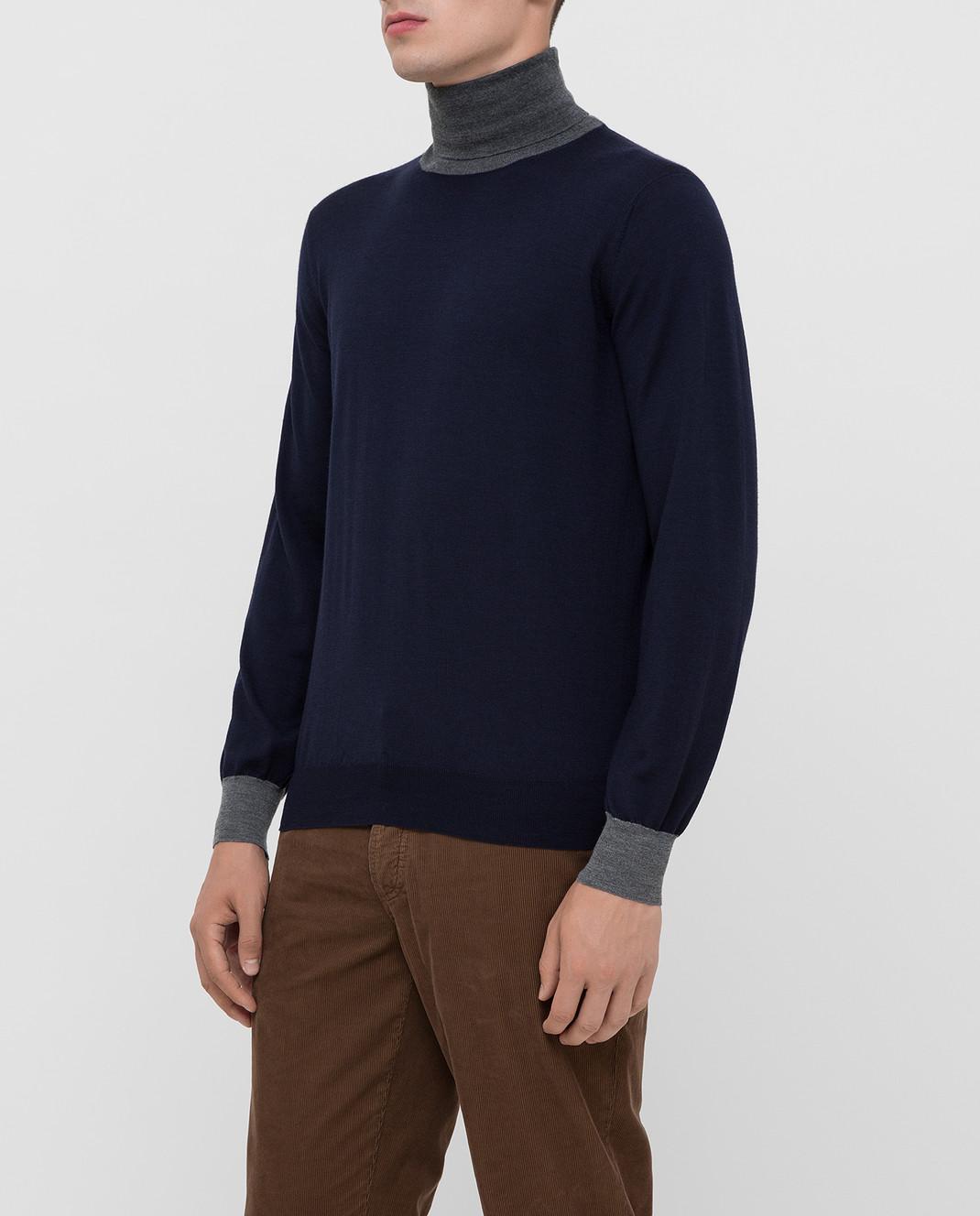 Brunello Cucinelli Темно-синий гольф из шерсти и кашемира изображение 3