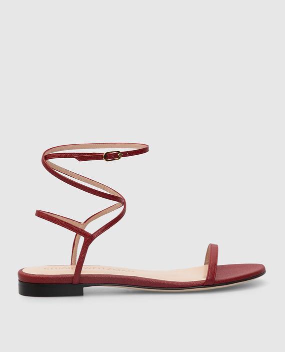Бордовые кожаные сандалии