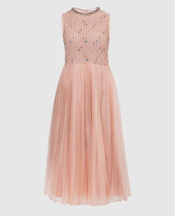 Пудровое платье из шелка с кристаллами