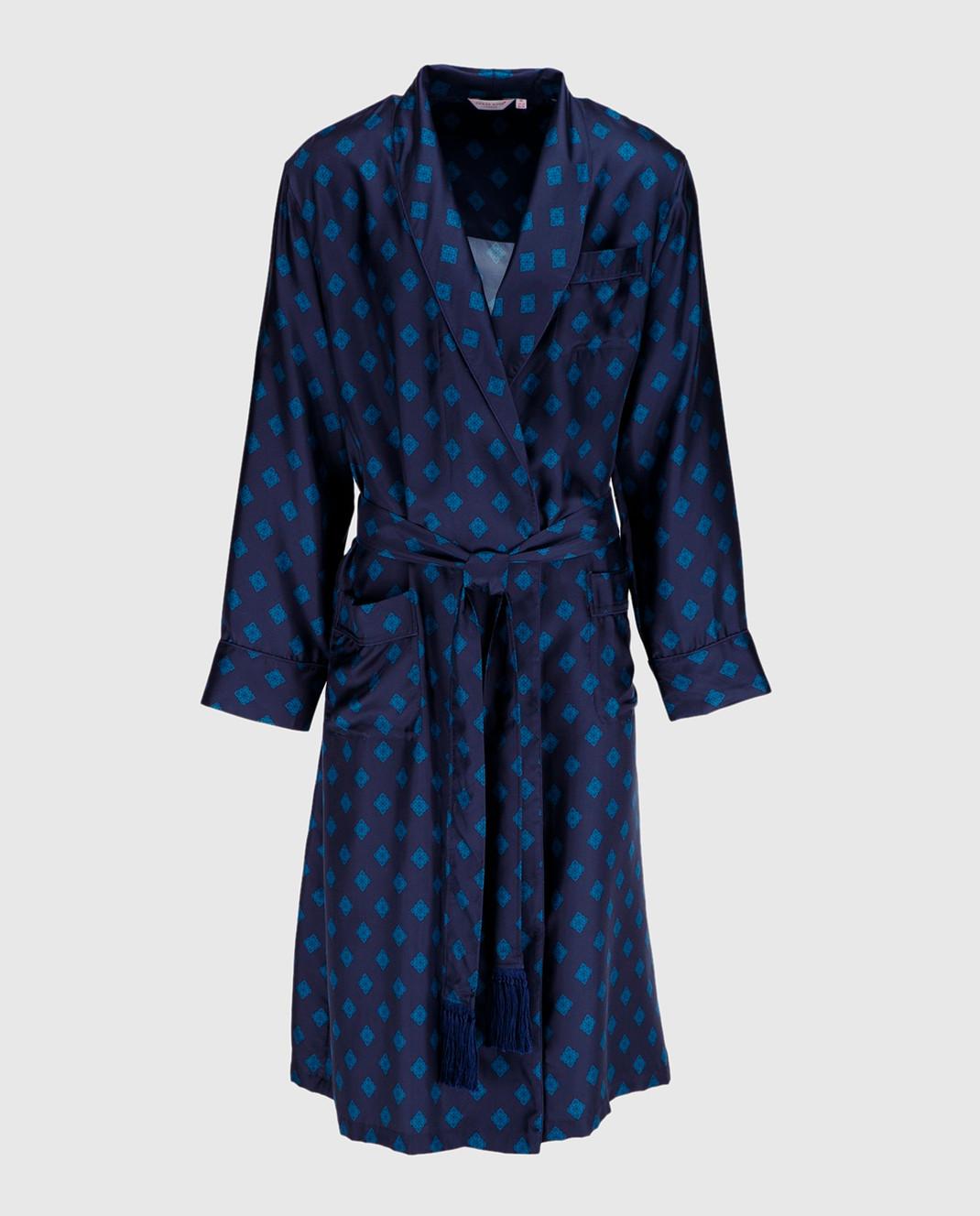 Derek Rose Темно-синий халат из шелка 5535OTIS011