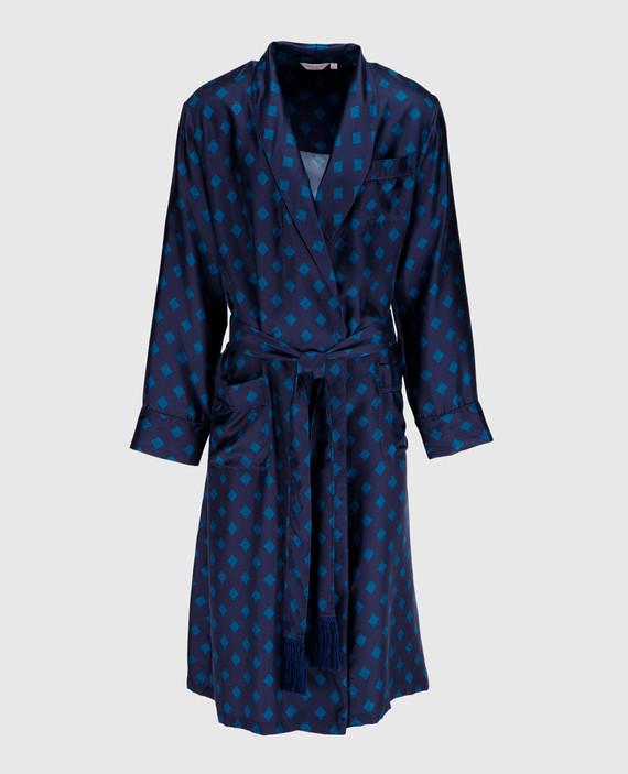 Темно-синий халат из шелка