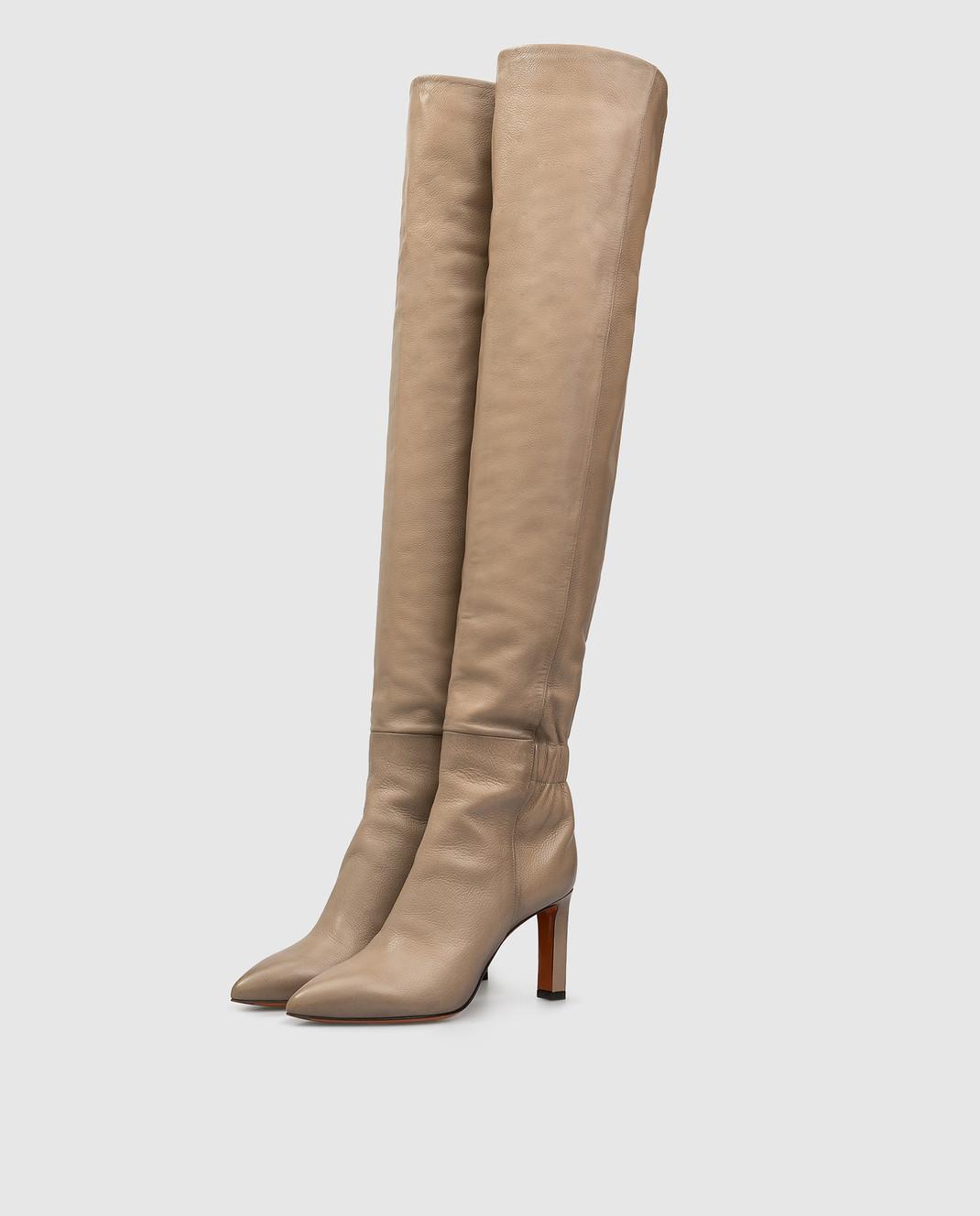 Santoni Бежевые кожаные ботфорты WSKK57445HI2CGHY изображение 3
