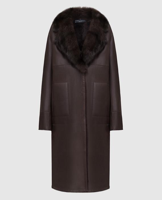 Темно-коричневая дубленка с мехом соболя