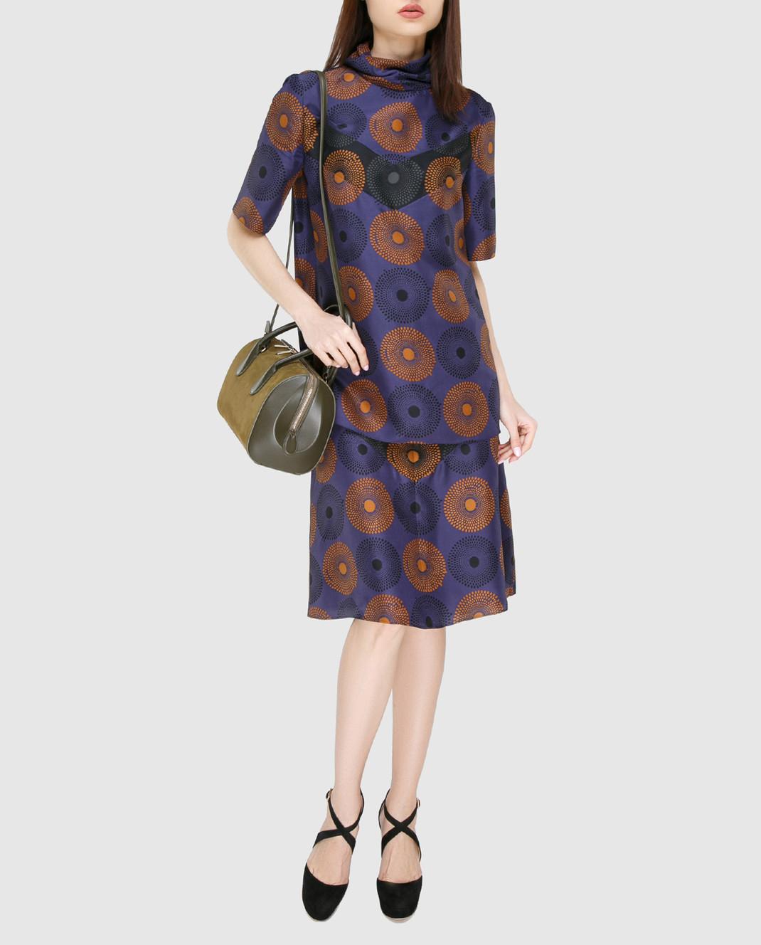 NINA RICCI Синяя юбка из шелка 17PCJU008SE1249 изображение 2