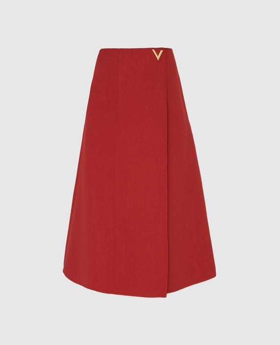 Терракотовая юбка из шерсти