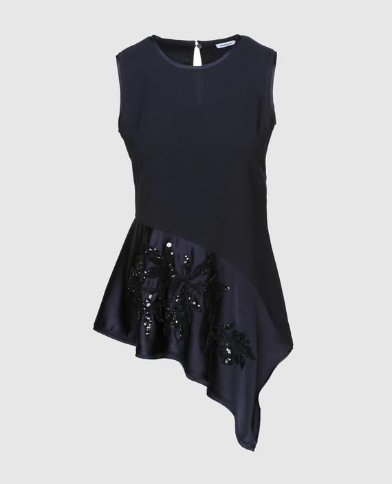 Темно-синяя блуза с вышивкой пайетками