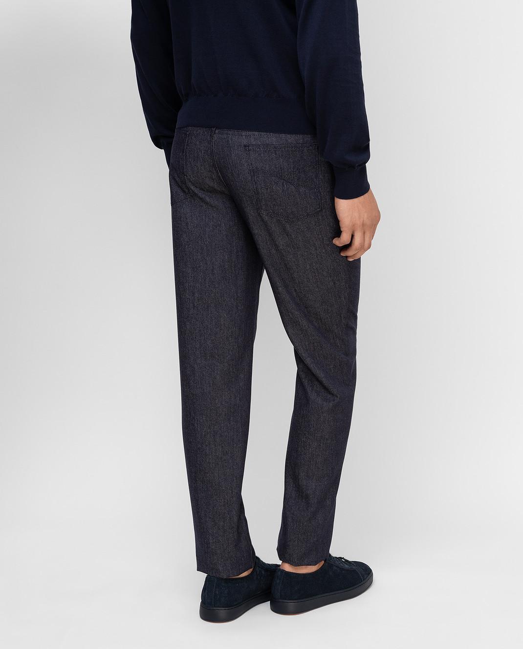 Brunello Cucinelli Темно-синие брюки из шерсти изображение 4