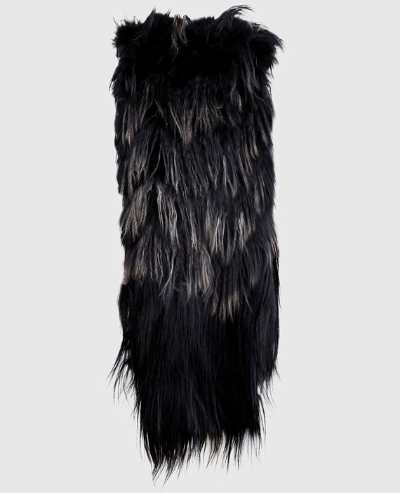 Черный шарф из меха мурмаски, ламы и снежной козы