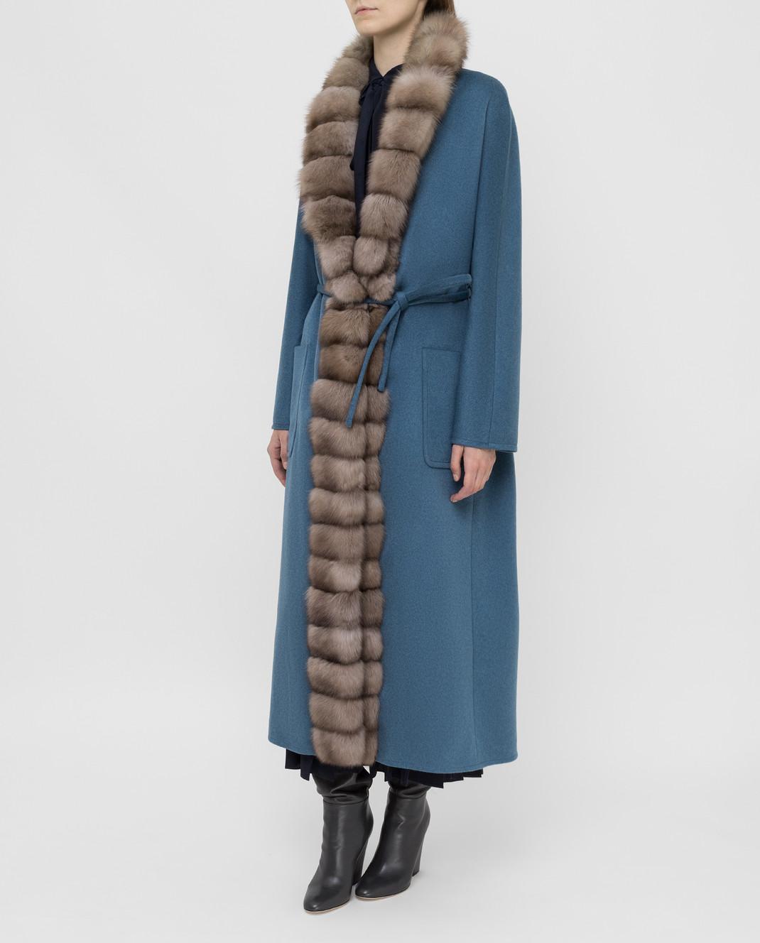 Real Furs House Синее пальто из кашемира с мехом соболя GT01lLIGHTBLUE изображение 3