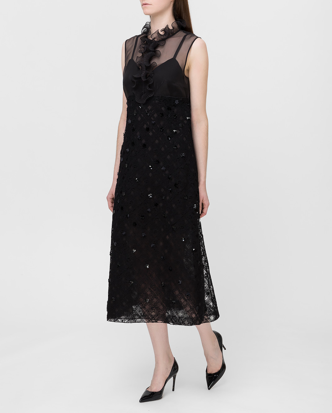 Bottega Veneta Черное платье с пайетками 523986 изображение 3
