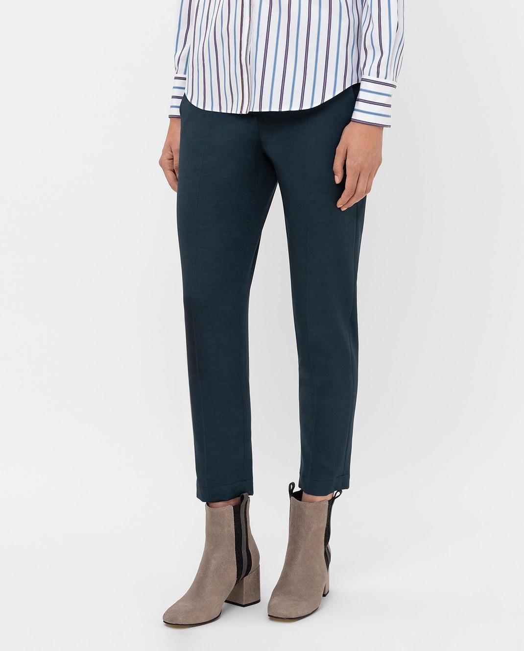 Brunello Cucinelli Темно-бирюзовые брюки изображение 3