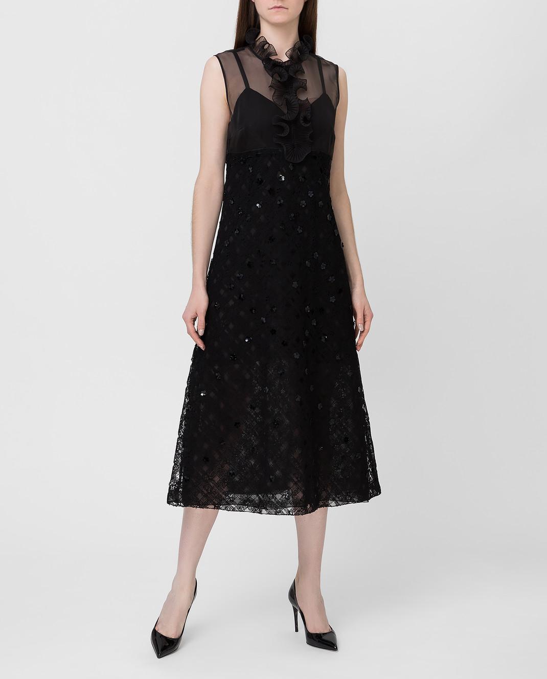 Bottega Veneta Черное платье с пайетками 523986 изображение 2