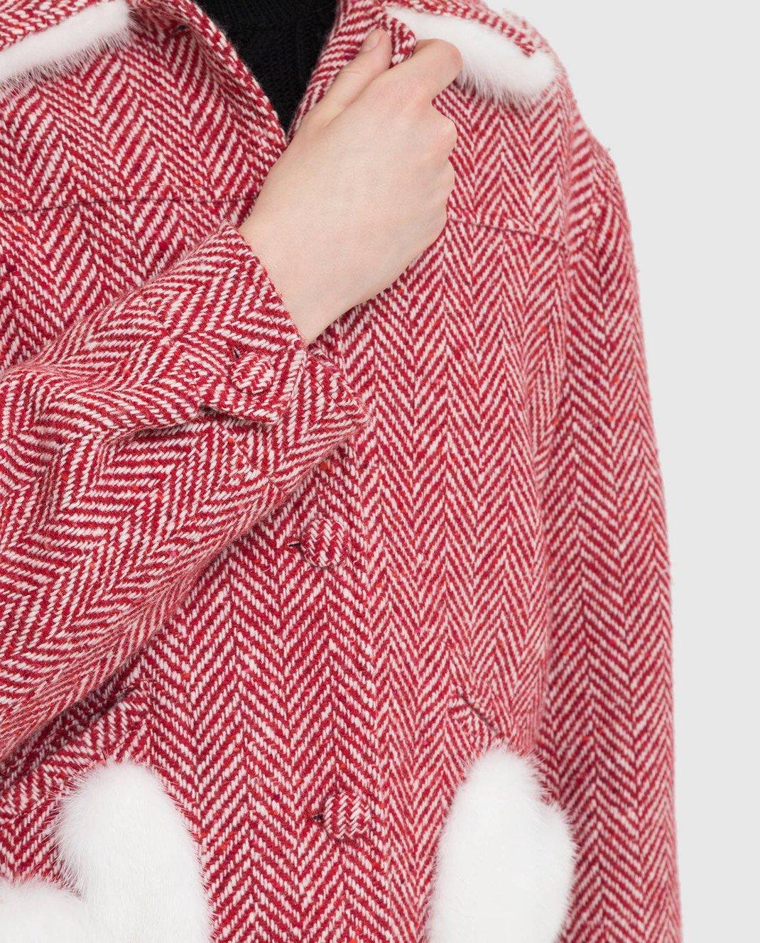 Simonetta Ravizza Красное пальто из шерсти с мехом норки BETH3 изображение 5