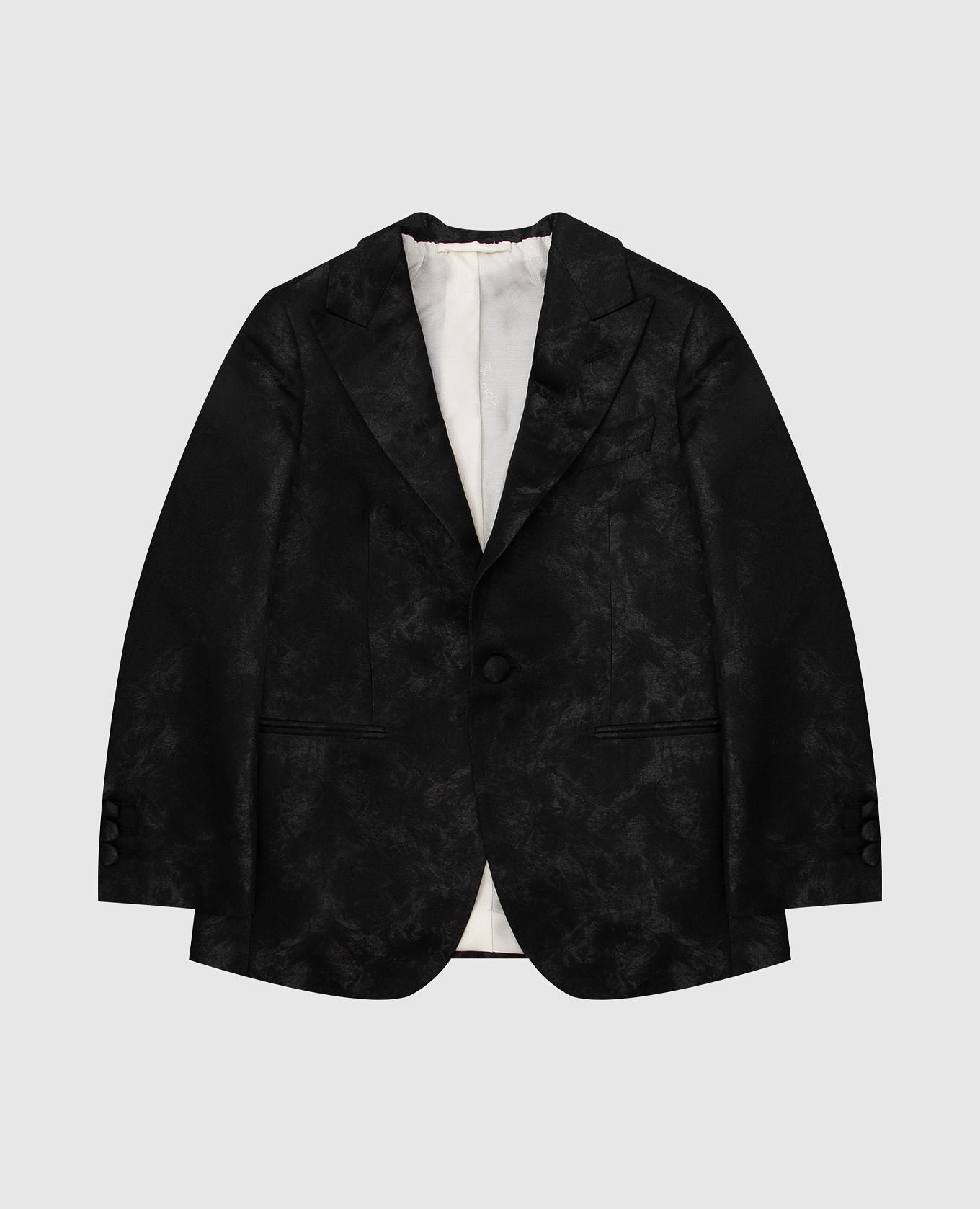 Детский черный шелковый пиджак в узор Stefano Ricci