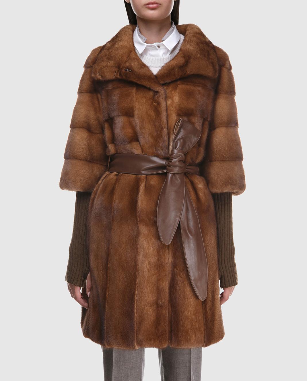 Florence Mode Коричневая шуба из меха норки с поясом и митенками изображение 3