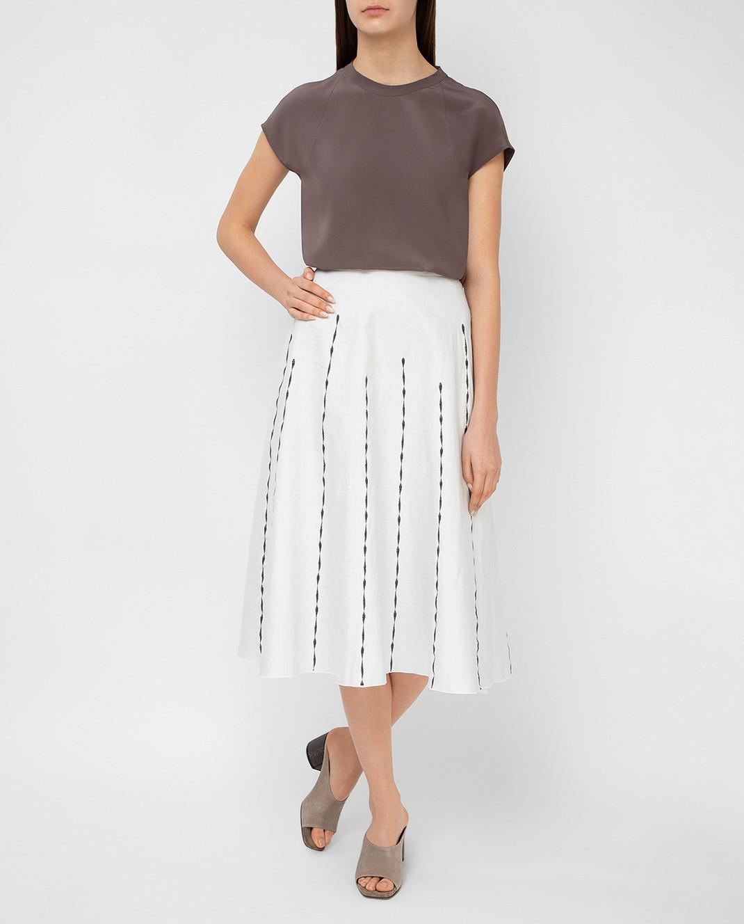 Bottega Veneta Светло-серая юбка 448808 изображение 2