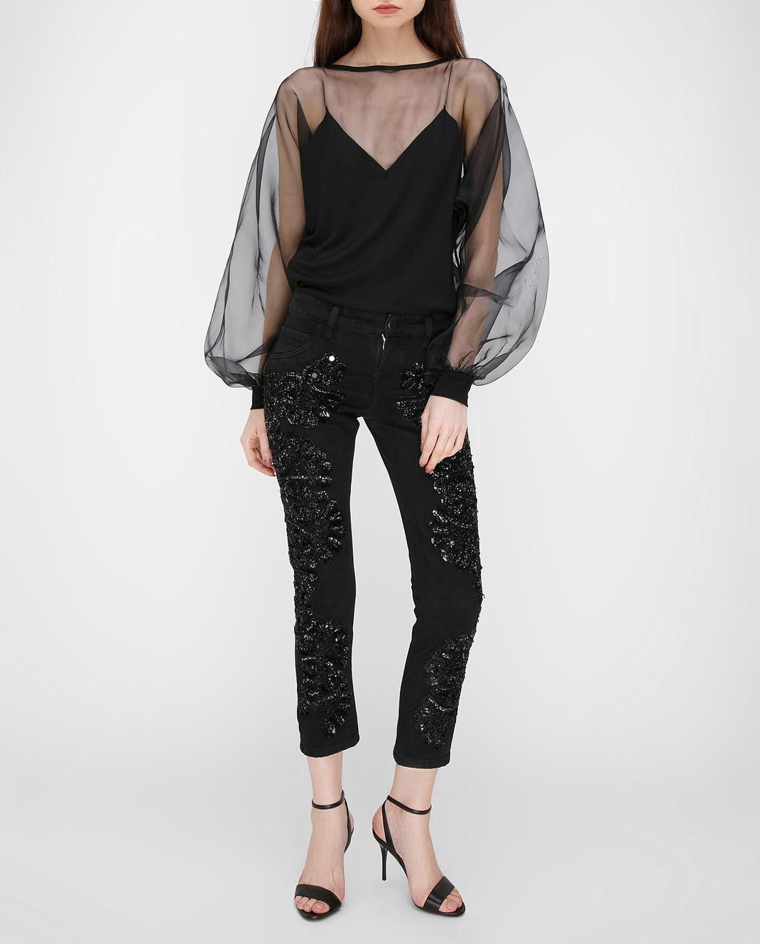 Amen Черные джинсы с пайетками ACS17607 изображение 2