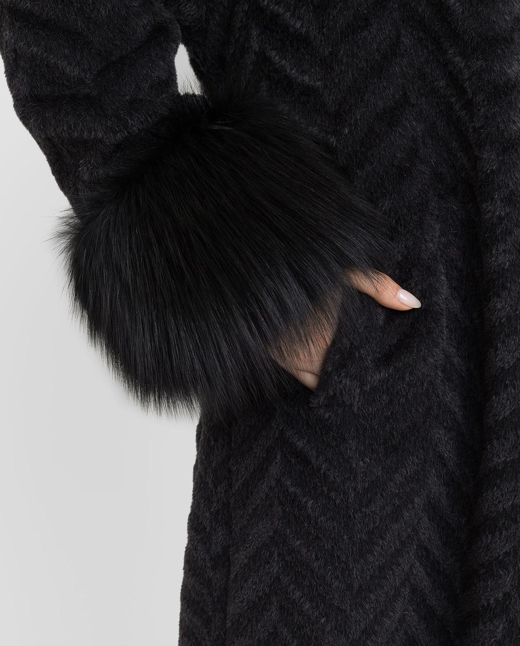 Rindi Черное пальто из альпаки и шерсти с мехом лисы 267TE017 изображение 5
