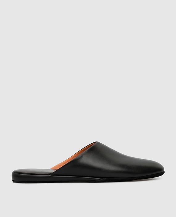 Черные кожаные тапочки