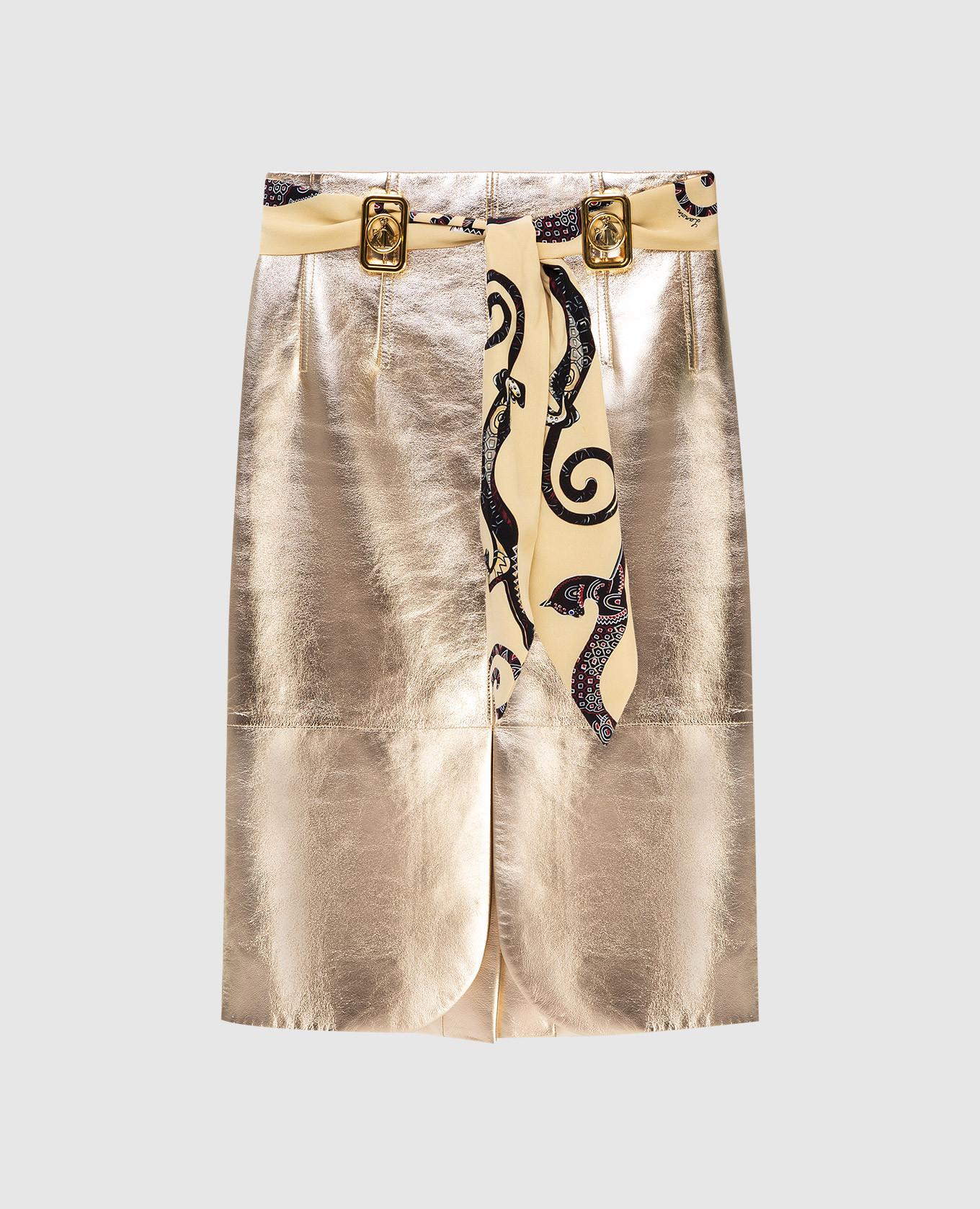 Кожаная юбка на поясе Lanvin