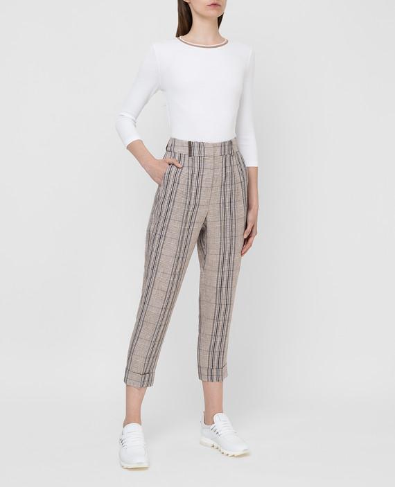 Светло-бежевые брюки из льна hover