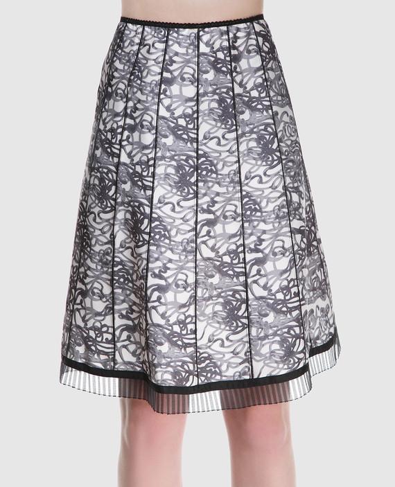 Черная юбка из шелка с принтом hover
