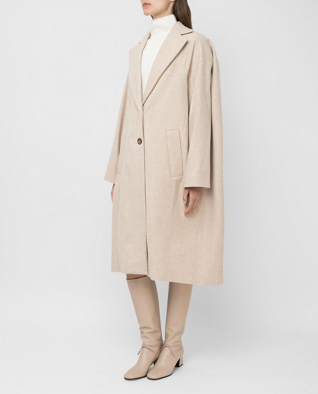 NINA RICCI Светло-бежевое пальто из шерсти изображение 3