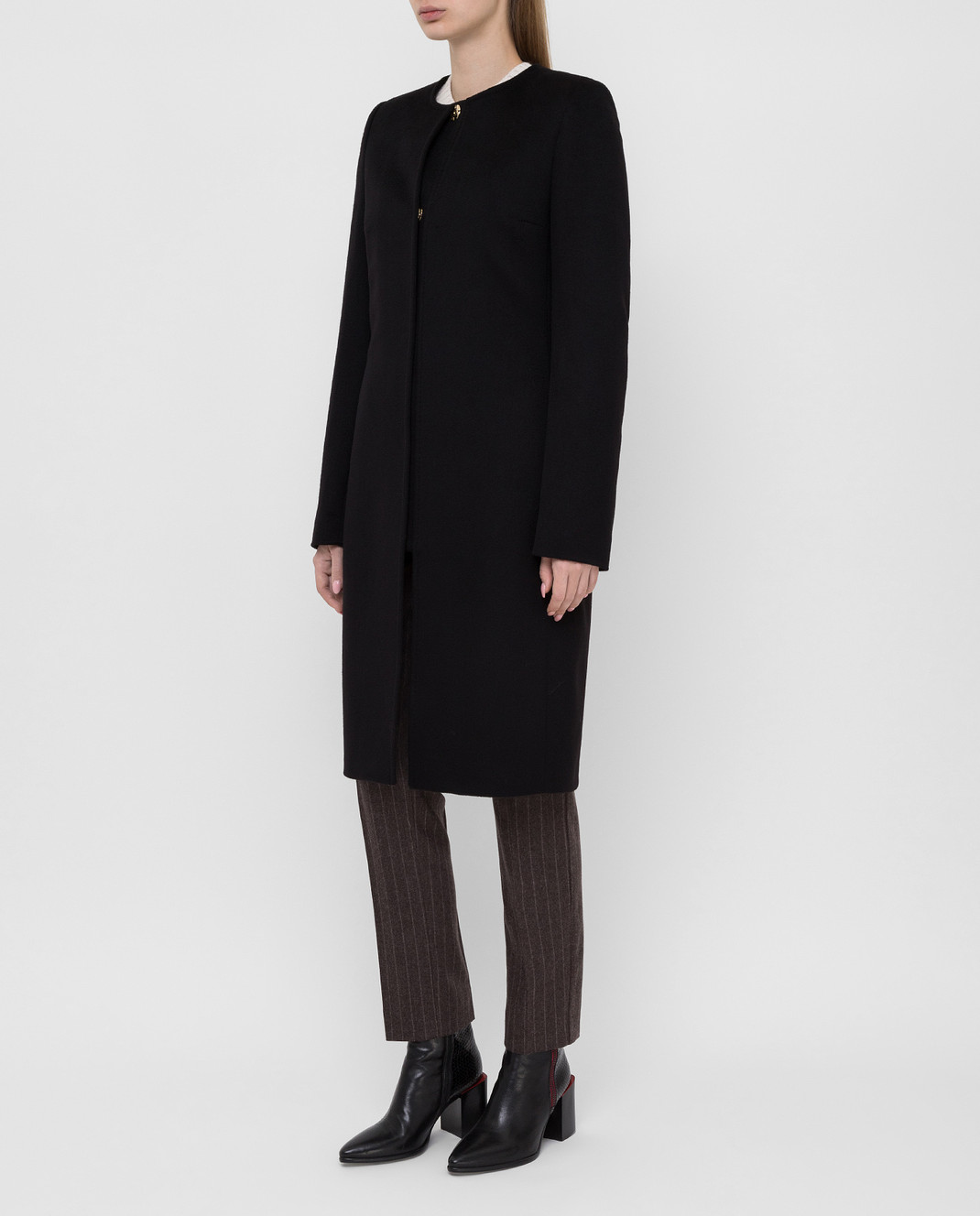Heresis Черное пальто из шерсти D40100SLIME200 изображение 3