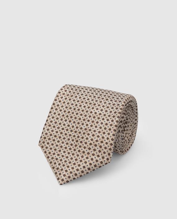 Бежевый галстук из шелка