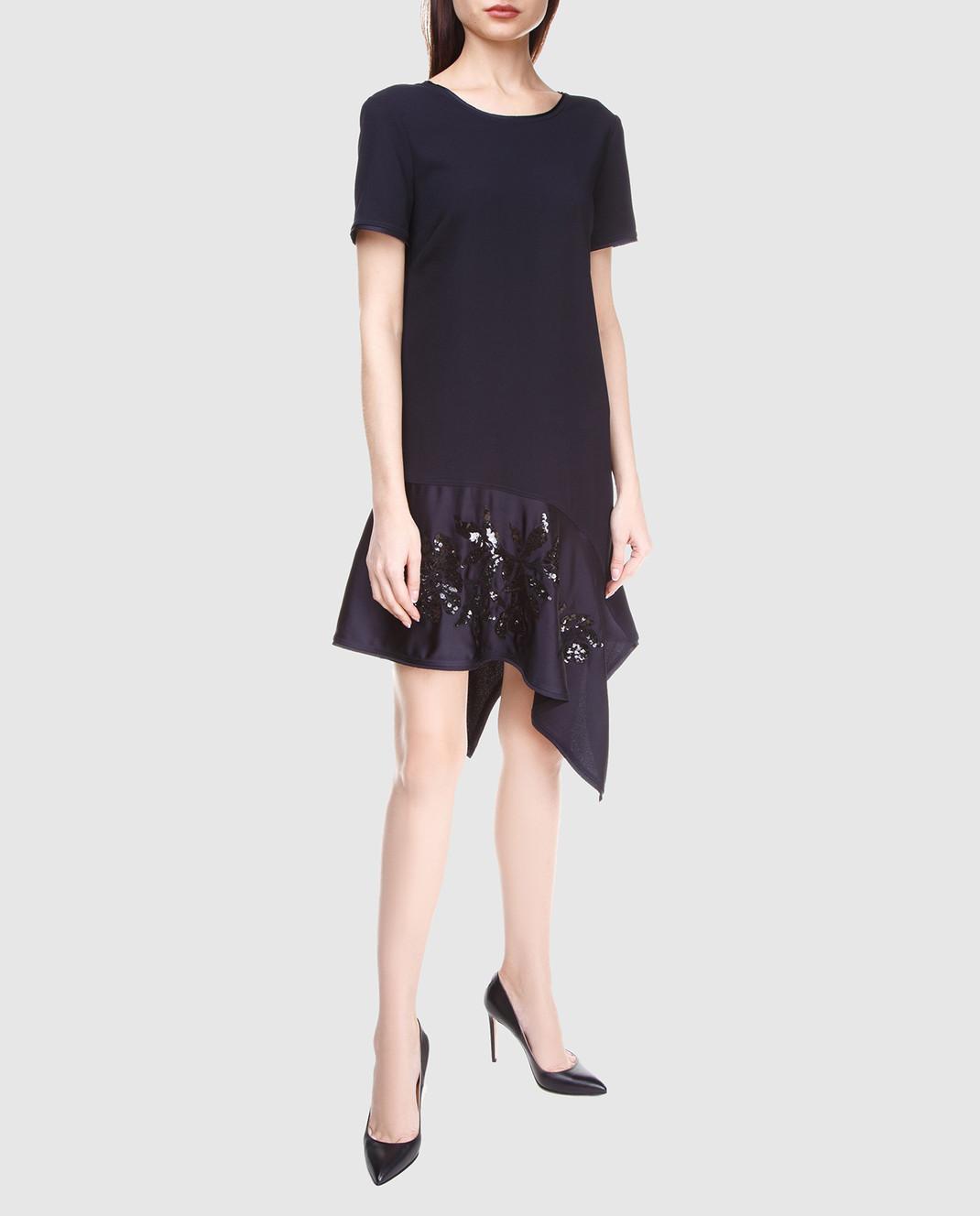 PAROSH Темно-синее платье с вышивкой пайетками D730224R изображение 2