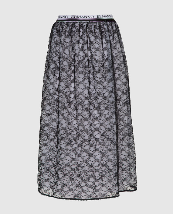 Черная юбка из кружева