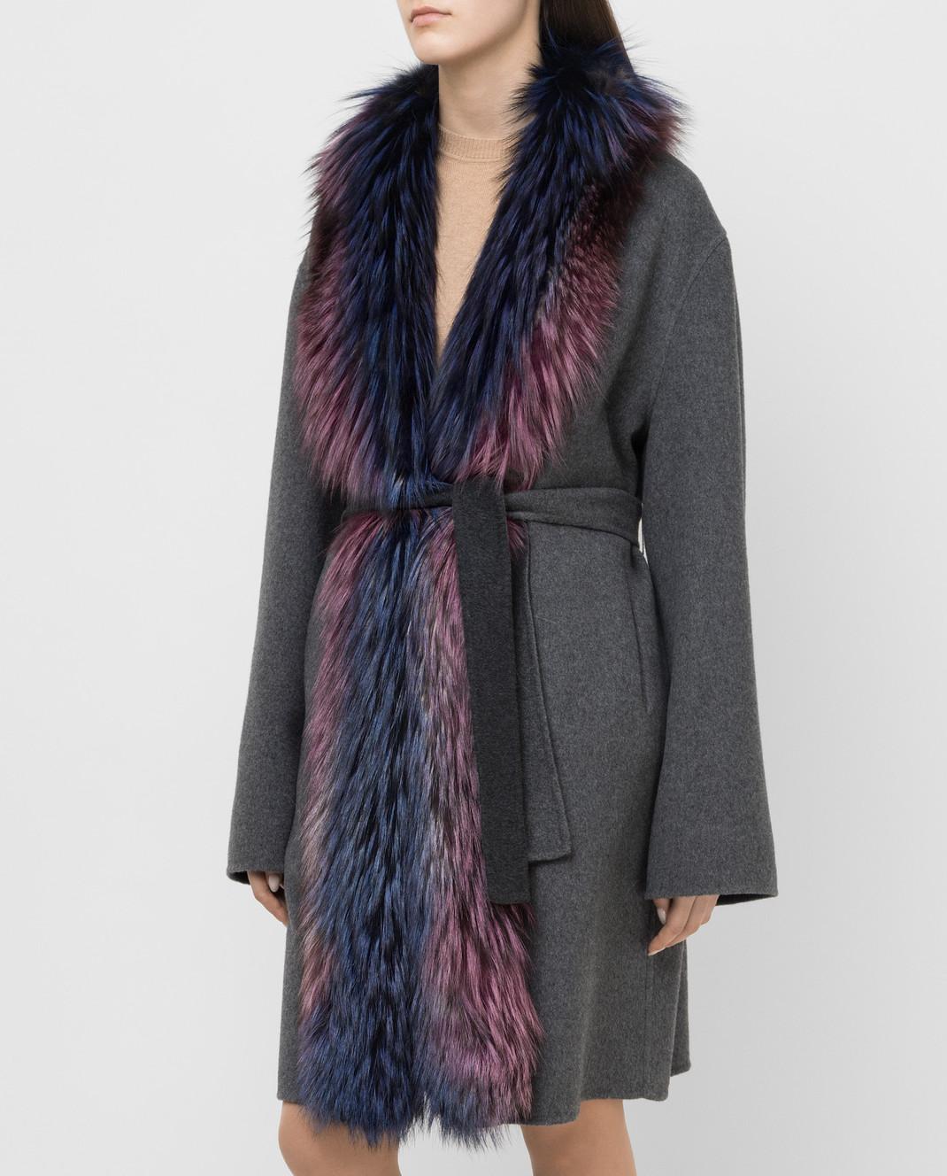 Rindi Серое пальто из кашемира с мехом лисы 262TE017 изображение 3